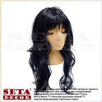 Парик с чёрными длинными вьющимися волосами и чёлкой