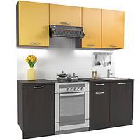Кухонный гарнитур МДФ 2 метра из 5 модулей венге +оранжевая (кухонный комплект мебели)