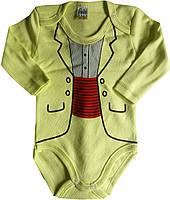 Детские Боди для новорожденных, с длинным рукавом, салатовый, 3-6-9-12-18 мес, интерлок, Турция, оптом