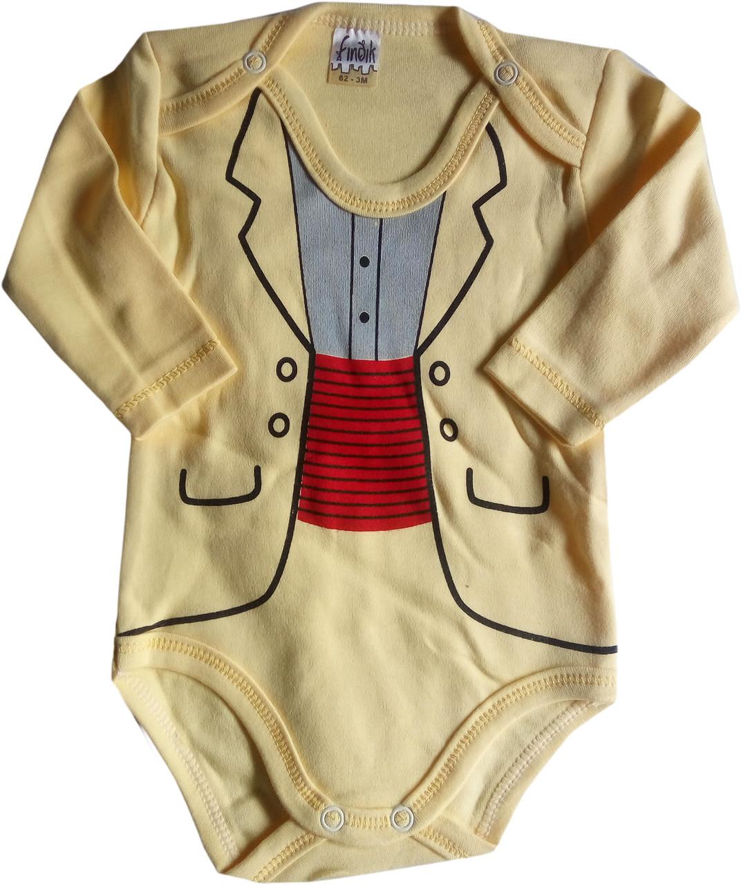 Детские Боди для новорожденных, с длинным рукавом, желтый, 3-6-9-12-18 мес, интерлок, Турция, оптом