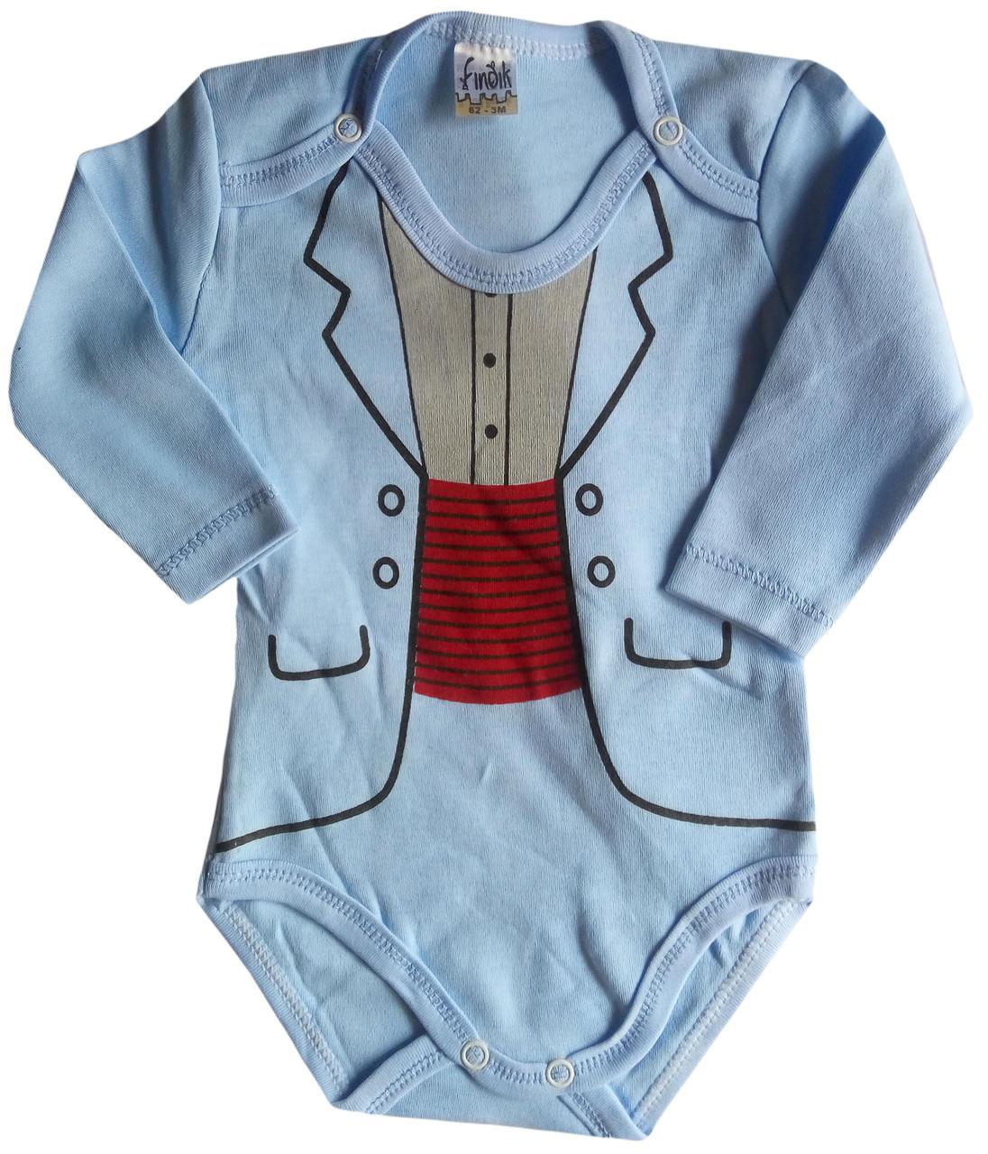 Детские Боди для новорожденных, с длинным рукавом, голубой, 3-6-9-12-18 мес, интерлок, Турция, оптом