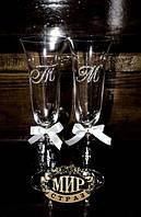 Свадебные бокалы. Инкрустация стразами