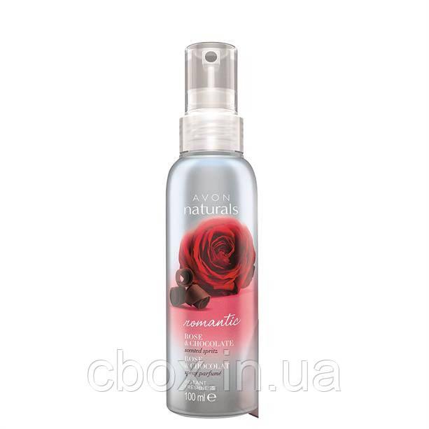 """Освіжаючий лосьйон-спрей для тіла """"Романтична троянда і шоколад"""" Avon Naturals, 100мл"""