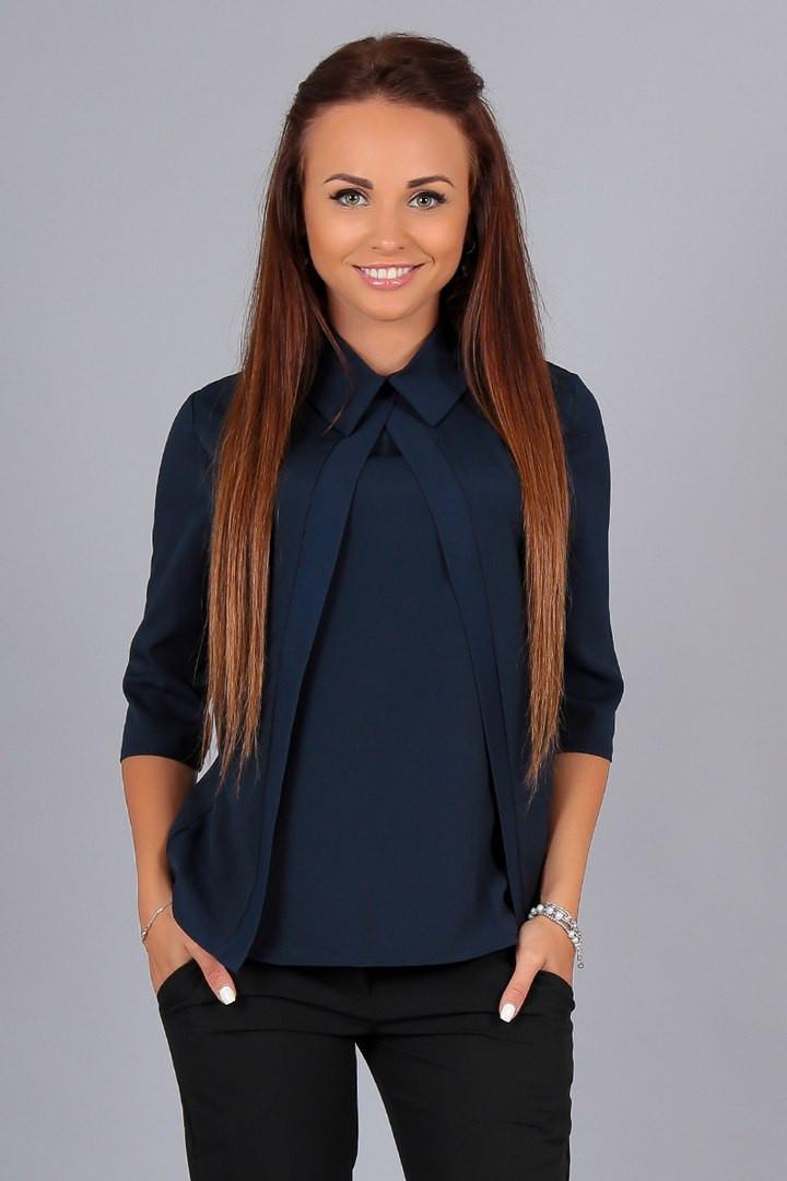 Элегантная шифоновая т.синяя блузка