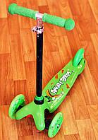 Самокат детский трехколестный Angry Birds Green