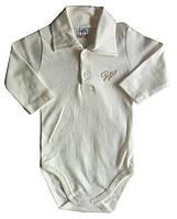 Детские Бодики для новорожденных, с длинным рукавом, поло, белый, 3-6-9-12-18 мес, интерлок, Турция, оптом