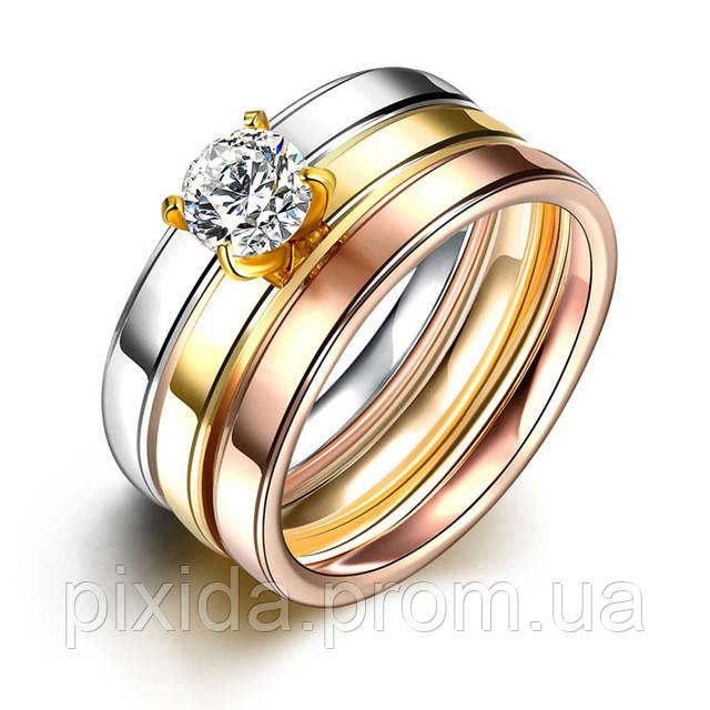 Кольцо сталь золотистое тройное кольцо