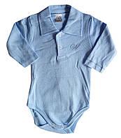 Детские Бодики для новорожденных, с длинным рукавом, поло, голубой, 3-6-9-12-18 мес, интерлок, Турция, оптом