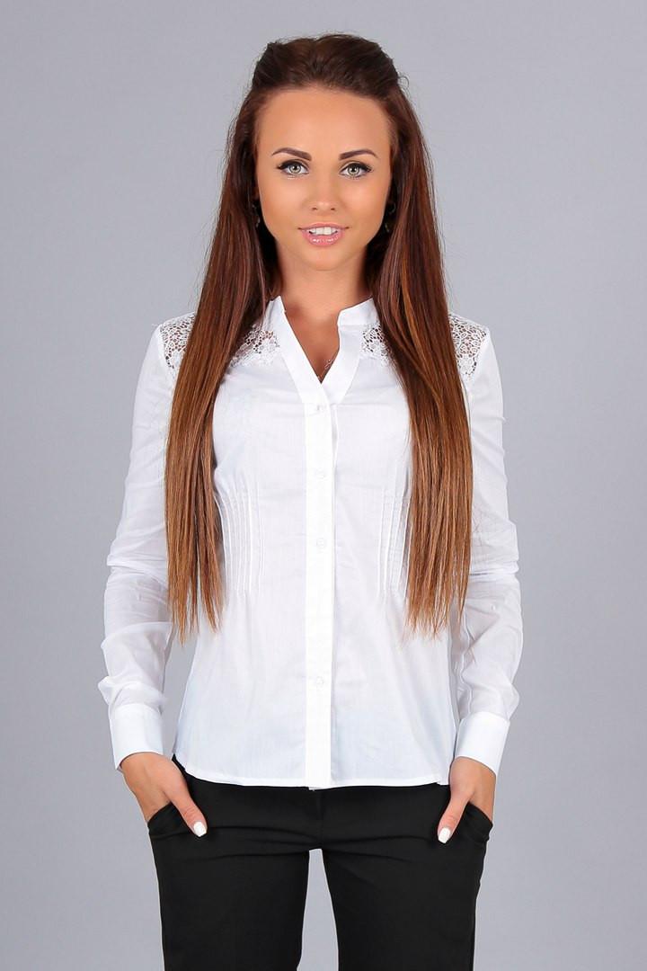 Элегантная блузка -рубашка из поплина со вставками кружева