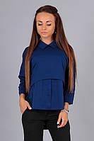 Элегантная т.синяя блузка АЛЕКС,рукав3/4, патиком делается короткий