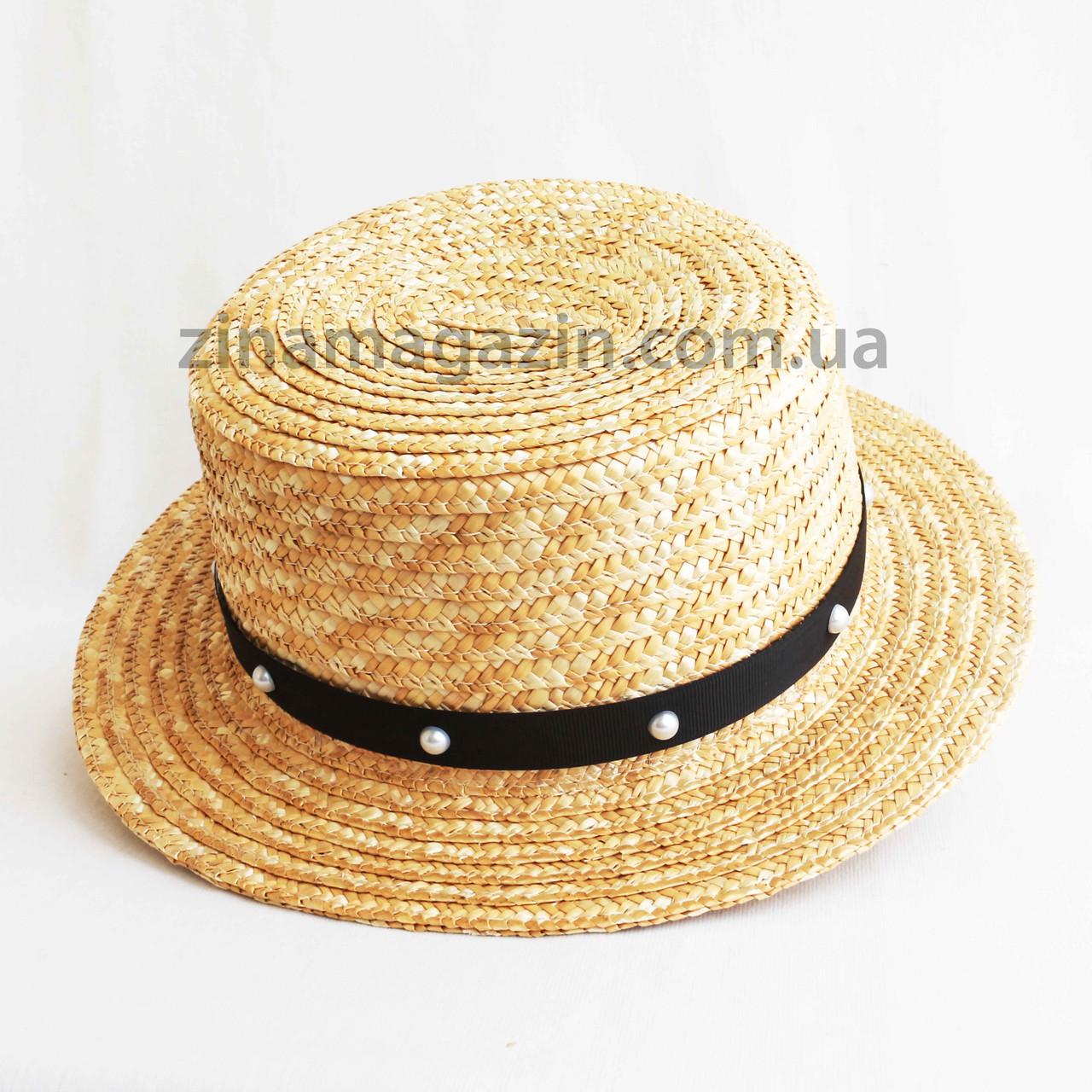 Шляпа канотье с полубусинами
