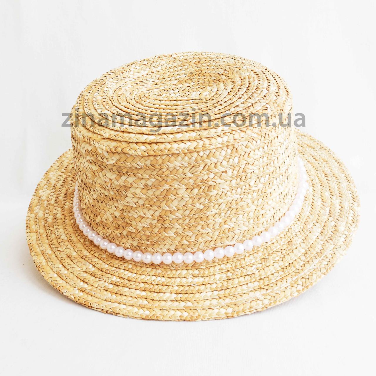 Шляпа канотье с бусинами
