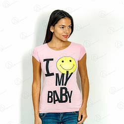 Розовая футболка женская 17F-026pink