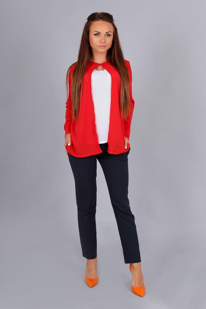 Блузка (двойка) модель состоит из майки и накидки цвет- красный+белая майка