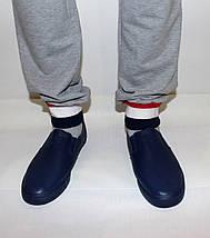 Мужские мокасины синие без шнурков, фото 2