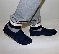 Мужские мокасины синие без шнурков
