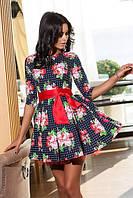 Милое коттоновое платье с атласным поясом