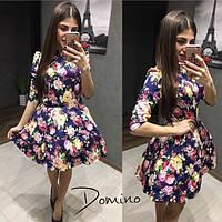 Платье  джинсовое с цветами