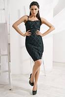 Джинсовое  мини платье с гипюром