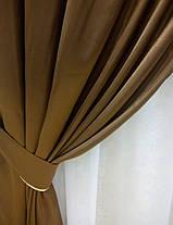 """Атласные шторы """"Молочный шоколад"""", комплект, фото 2"""