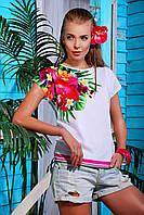 Женская футболка кимоно из вискозы с печатным принтом