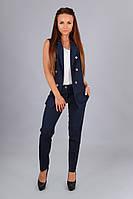 Модный т.синий костюм жилетка+брюки