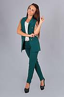 Модный бутылочный костюм жилетка+брюки