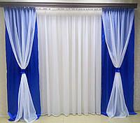 """Готовый комплект штор """"Посейдон"""" (синие)"""