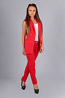 Модный  красный костюм жилетка+брюки