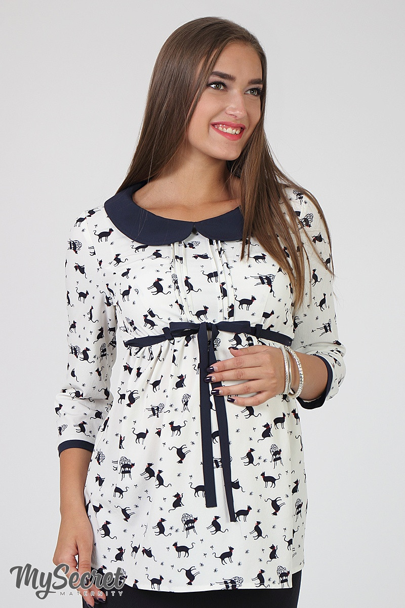 e273dc15846f Изысканная блузка для беременных Meriot, котики на молоке