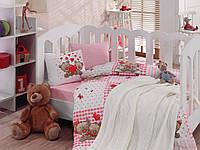 """Детское постельное бельё в кроватку Cotton Box с вязаным пледом """"Yumi"""" 100% хлопок"""