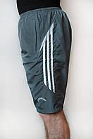 Мужские спортивные шорты плащевка темно серого цвета (удлиненные)
