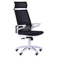Кресло Tesla сетка черная, каркас белый