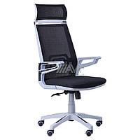 Кресло Tesla сетка черная, каркас серый