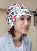 Стильная шапка унисекс. England. Белая, фото 1