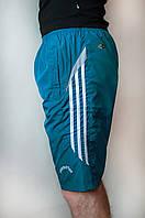 Мужские спортивные шорты плащевка цвета морская волна (удлиненные)