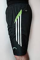 Мужские спортивные шорты плащевка черного цвета (удлиненные)