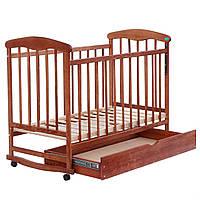 Деревянная детская кроватка с шухлядой на колесах Наталка