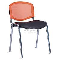 Стул Изо Веб хром сиденье Сетка серая/спинка Сетка оранжевая, фото 1