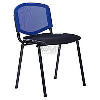 Стул Призма Веб Черный лак сиденье Сетка черная/спинка Сетка синяя, фото 1