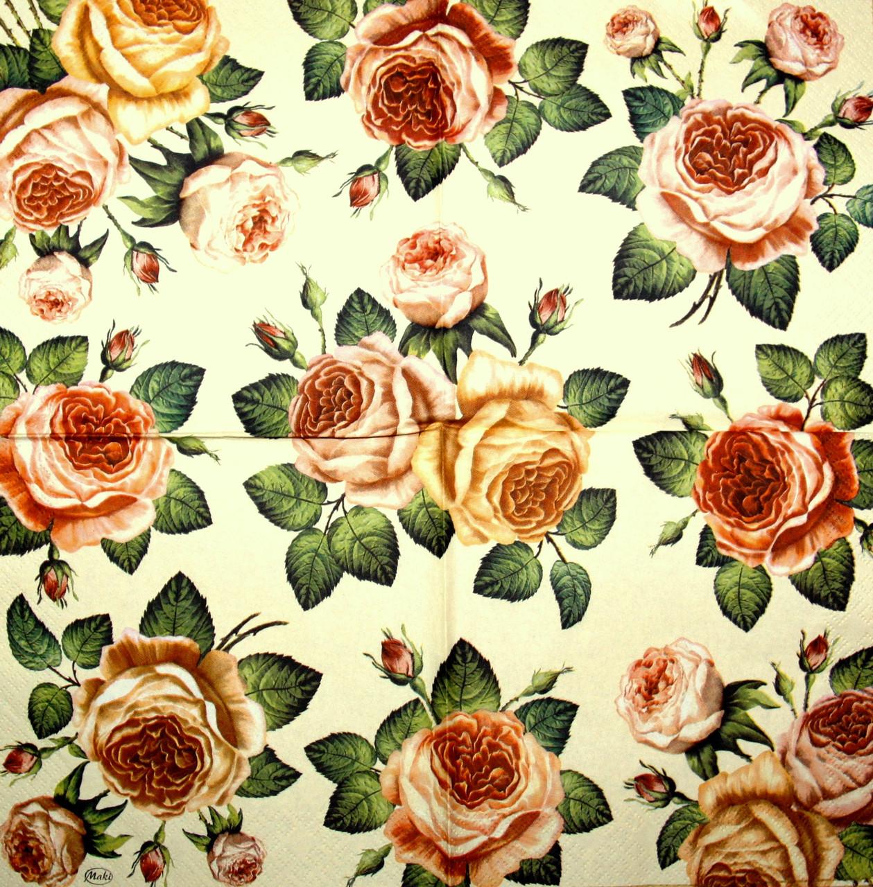 Салфетка красивая для декупажа Розы на бежевом фоне 1595