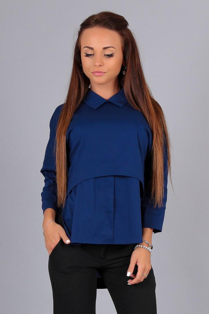 Элегантная т.синяя блузка Алекс рукав3/4, патиком делается короткий