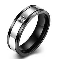 Кольцо сталь черное фианит