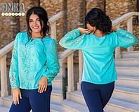 Блуза женская большого размера штапель+гипюр цвета-оливка.белый.персик.синий ДГ № 759-2