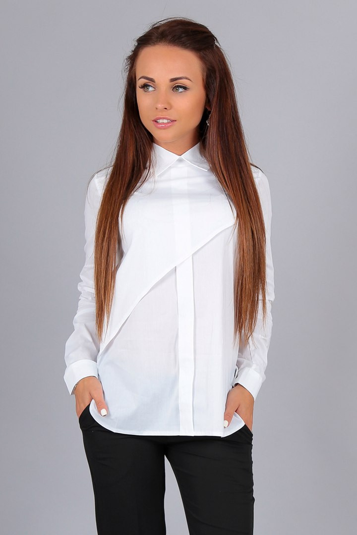 Элегантная белая блузка Алекс рукав3/4, патиком делается короткий