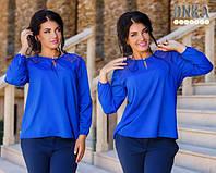 Блуза женская большого размера ткань креп -шифон голубой.электрик.красный.белый дг № 1223