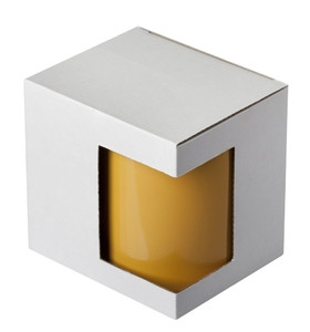 Упаковка белая из картона для чашек с окном
