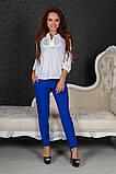 Элегантная блузка прошва белого цвета ,поплин+ кружево макраме , фото 2