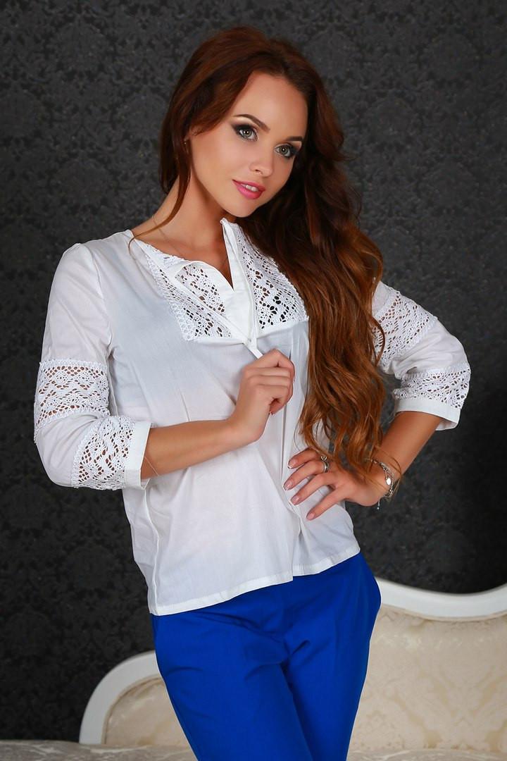 Элегантная блузка прошва белого цвета ,поплин+ кружево макраме