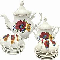Набор чайный 14пр. Полевой мак (чашка-200мл;чайник-700мл; сахарн.-500мл;блюдце-14.5см